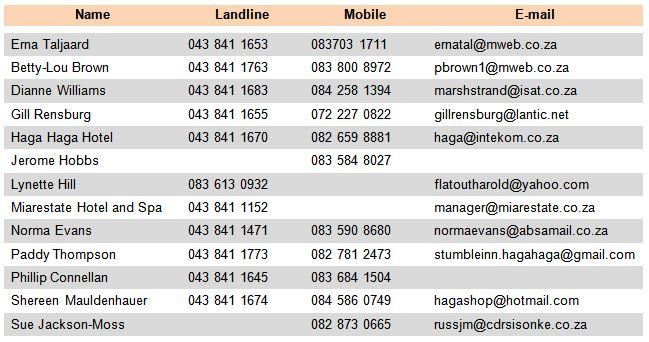 Haga Haga accommodation - Table